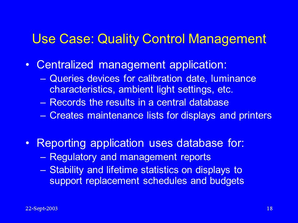Use Case: Quality Control Management