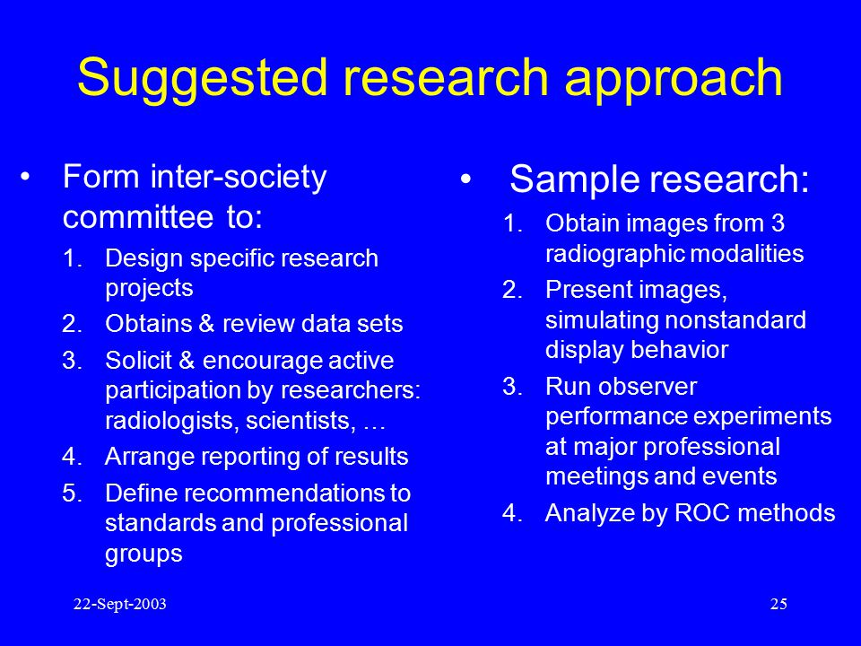 Suggested research approach