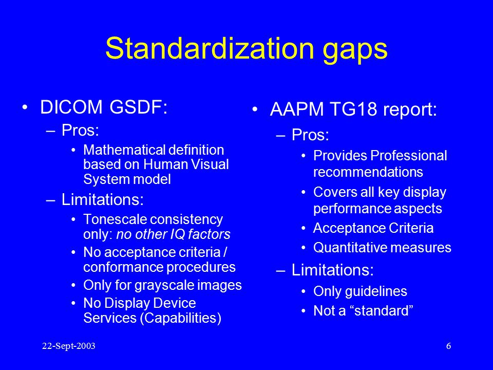 Standardization gaps DICOM GSDF: AAPM TG18 report: Pros: Pros: