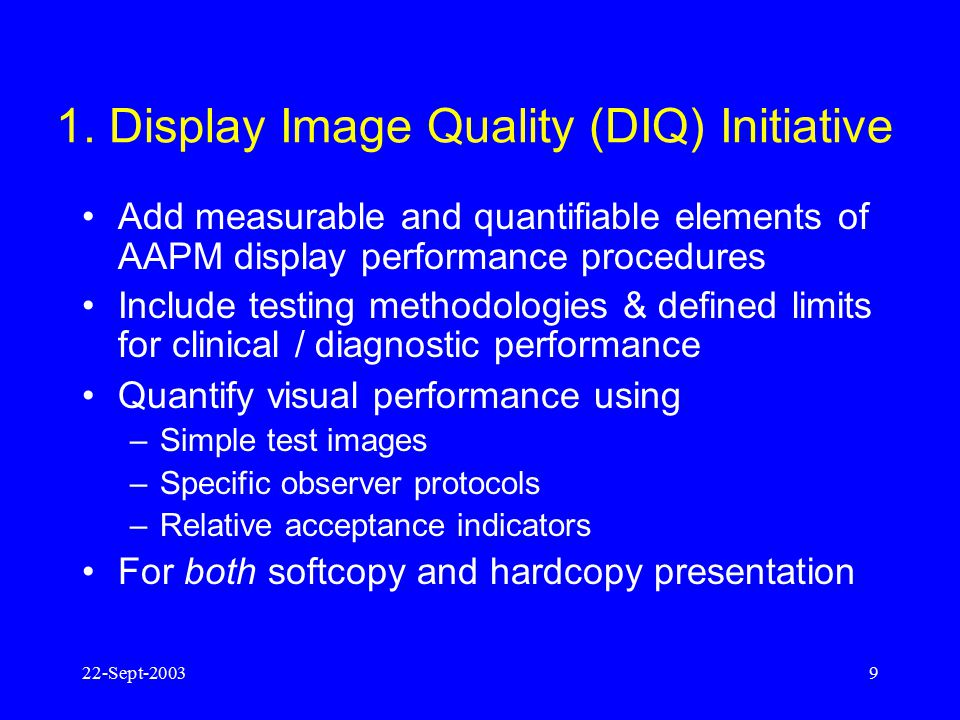1. Display Image Quality (DIQ) Initiative