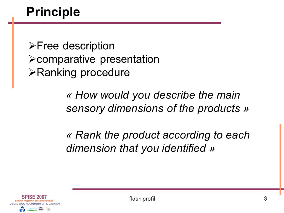 Principle Free description comparative presentation Ranking procedure
