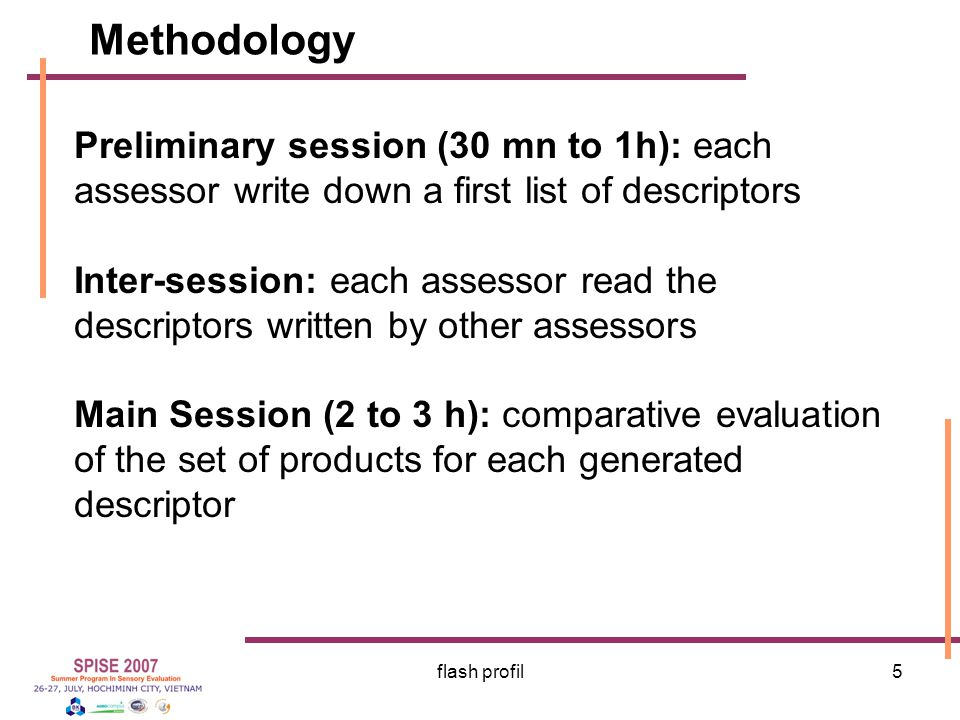 Methodology Preliminary session (30 mn to 1h): each assessor write down a first list of descriptors.