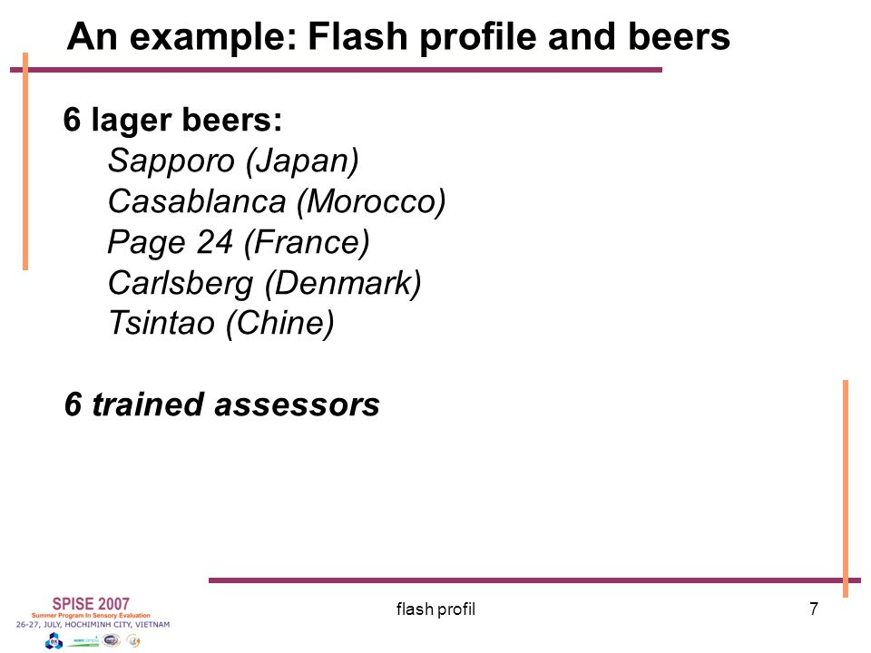 An example: Flash profile and beers