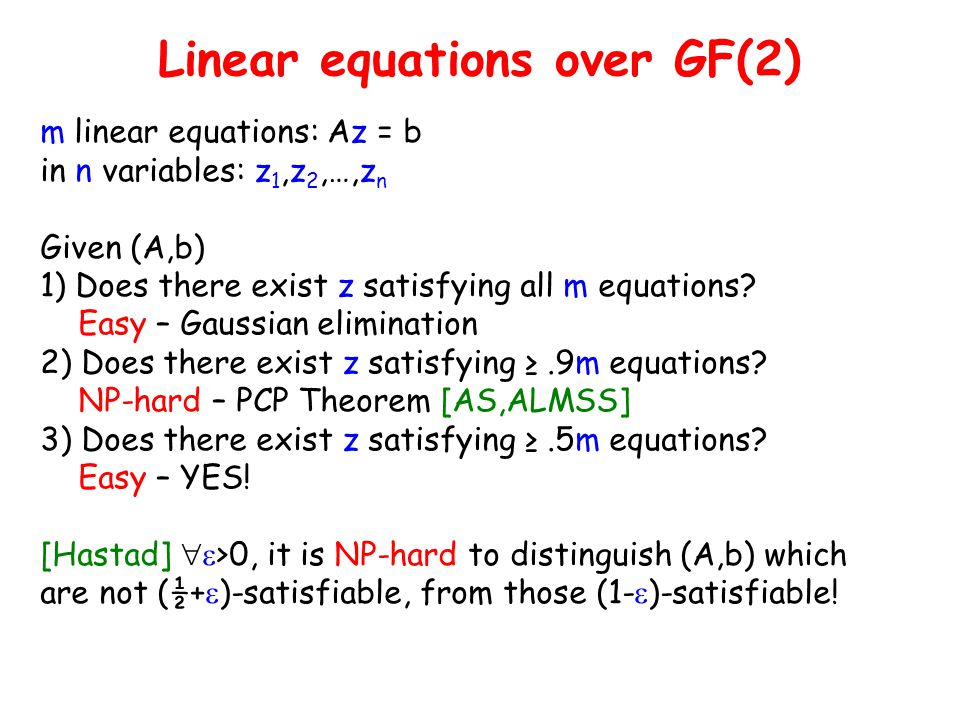Linear equations over GF(2)