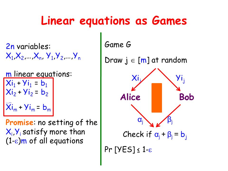 Linear equations as Games