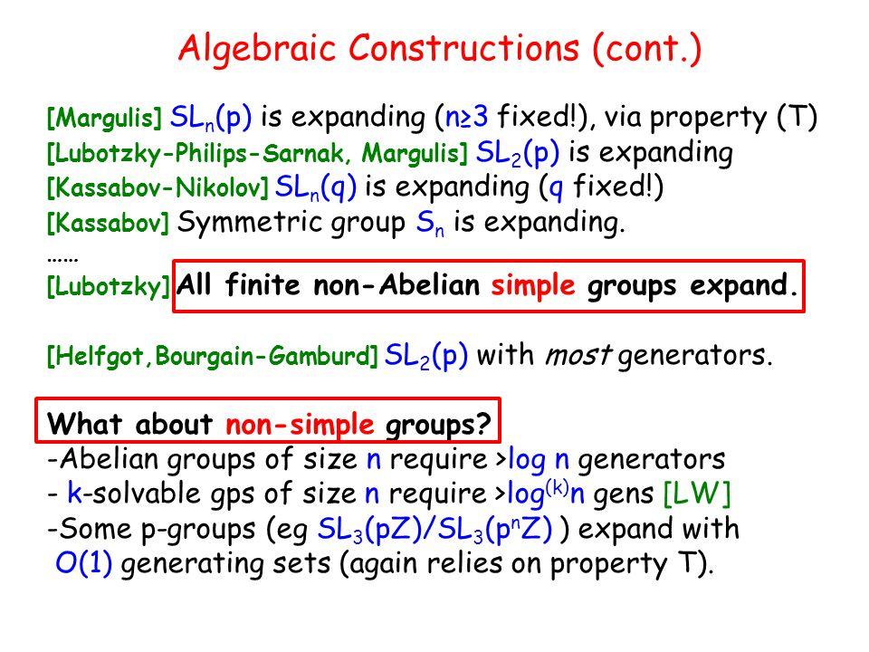 Algebraic Constructions (cont.)