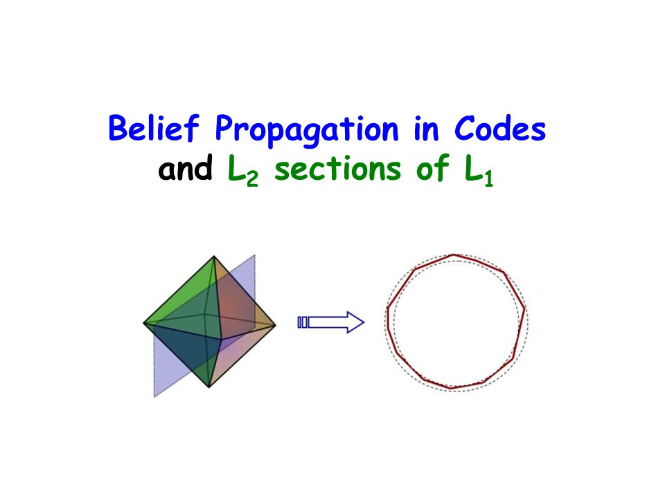 Belief Propagation in Codes and L2 sections of L1