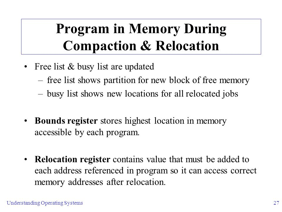 Program in Memory During Compaction & Relocation