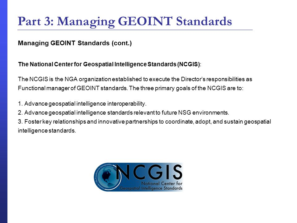 Part 3: Managing GEOINT Standards