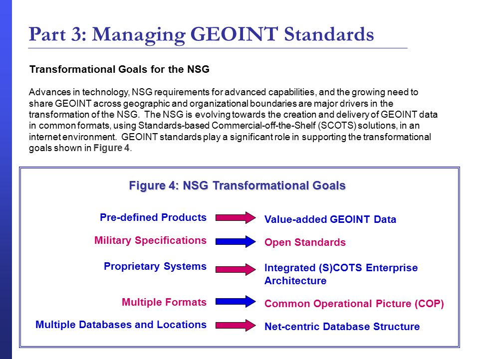 Part 3: Managing GEOINT Standards Figure 4: NSG Transformational Goals