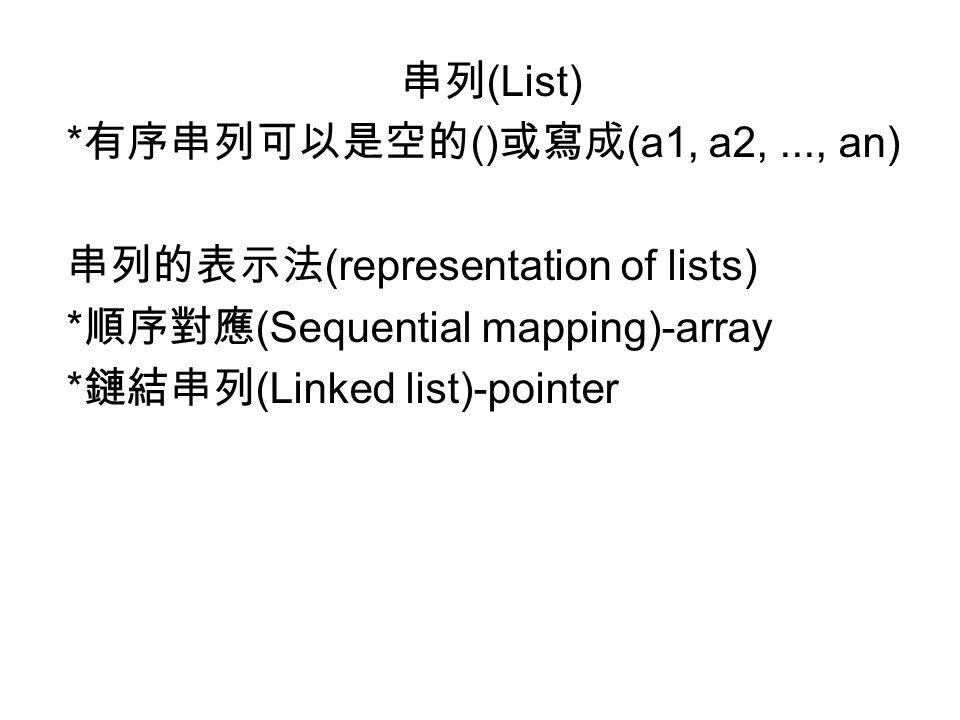 串列(List) *有序串列可以是空的()或寫成(a1, a2, ..., an) 串列的表示法(representation of lists) *順序對應(Sequential mapping)-array.