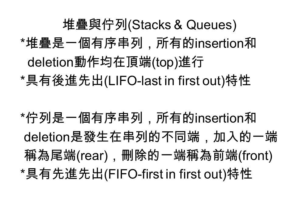 堆疊與佇列(Stacks & Queues)