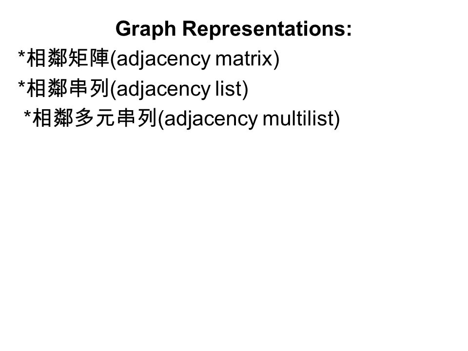Graph Representations: