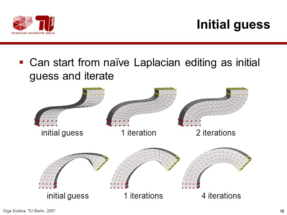 Initial guess Can start from naïve Laplacian editing as initial guess and iterate. initial guess. 1 iteration.