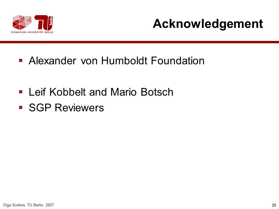 Acknowledgement Alexander von Humboldt Foundation