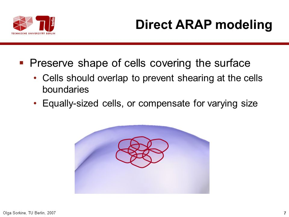Direct ARAP modeling Preserve shape of cells covering the surface
