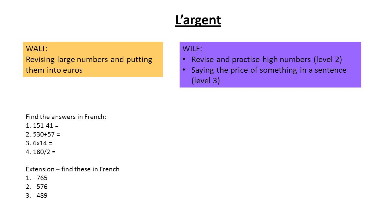 L'argent WALT: Revising large numbers and putting them into euros