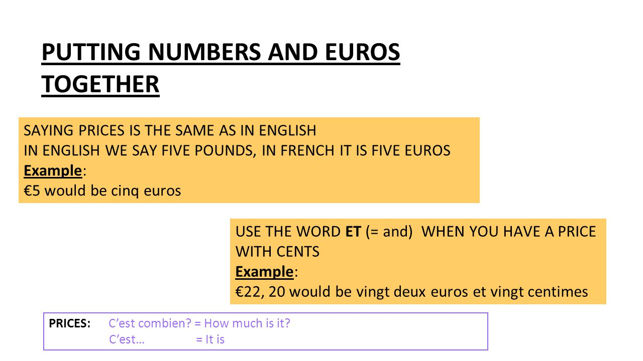 PUTTING NUMBERS AND EUROS TOGETHER
