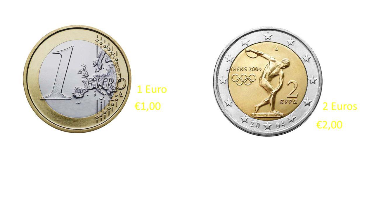1 Euro €1,00 2 Euros €2,00