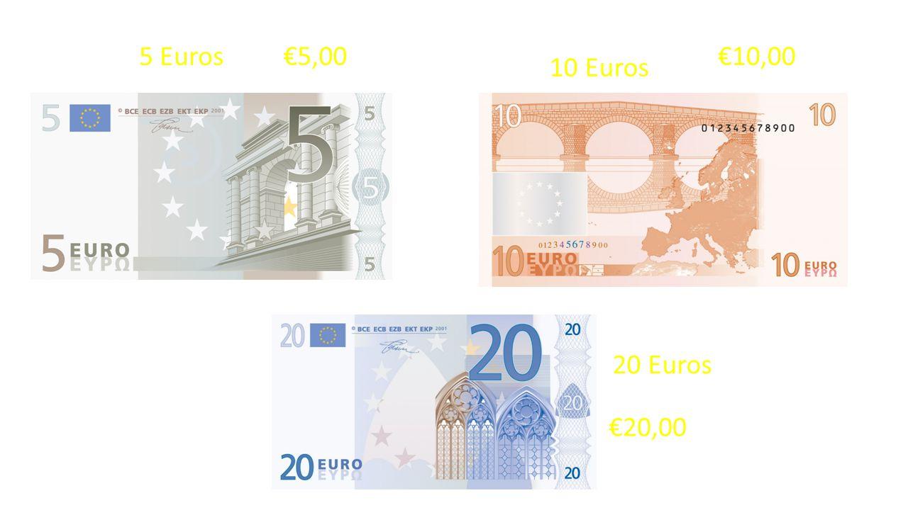 5 Euros €5,00 €10,00 10 Euros 20 Euros €20,00