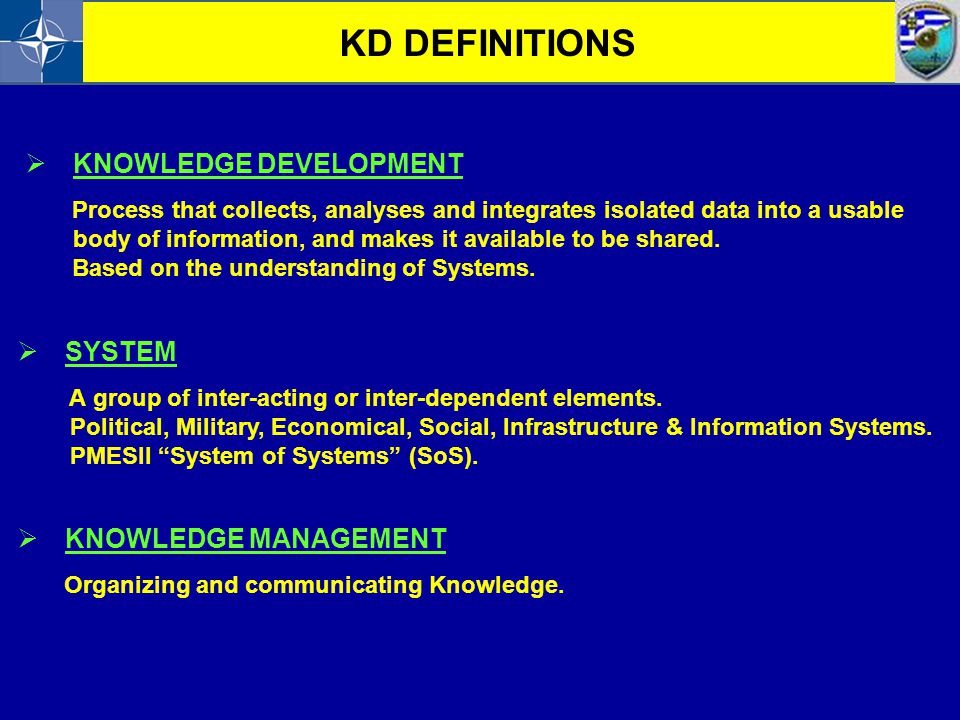 KD DEFINITIONS KNOWLEDGE DEVELOPMENT SYSTEM KNOWLEDGE MANAGEMENT