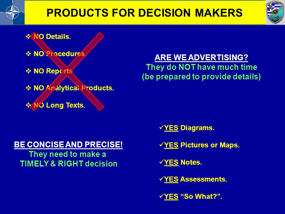 PRODUCTS FOR DECISION MAKERS
