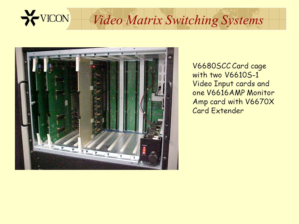 V6680SCC Card cage with two V6610S-1 Video Input cards and one V6616AMP Monitor Amp card with V6670X Card Extender