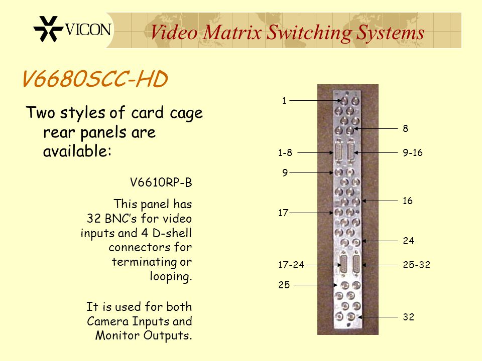 V6680SCC-HD Two styles of card cage rear panels are available: