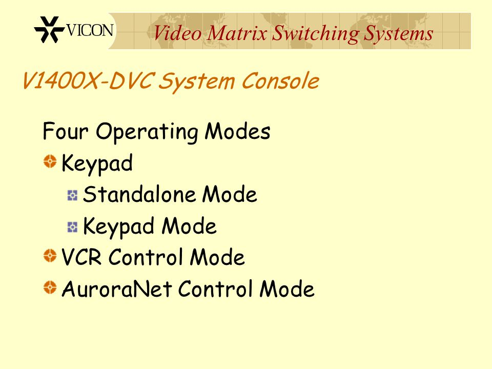 V1400X-DVC System Console Four Operating Modes. Keypad. Standalone Mode. Keypad Mode. VCR Control Mode.