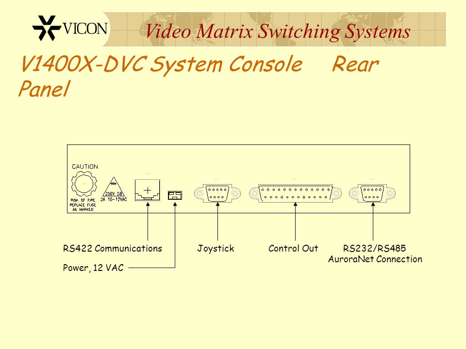 V1400X-DVC System Console Rear Panel