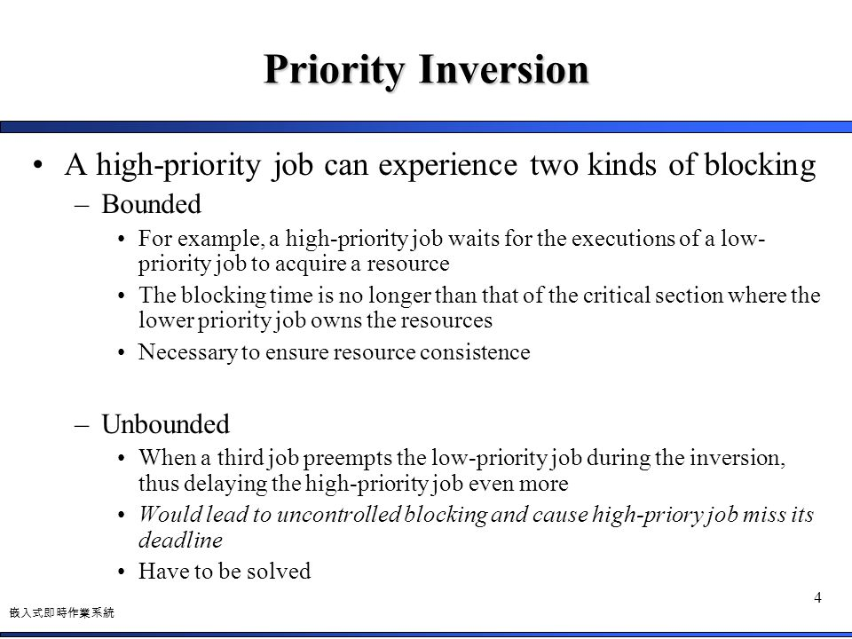 Priority Inversion A high-priority job can experience two kinds of blocking. Bounded.