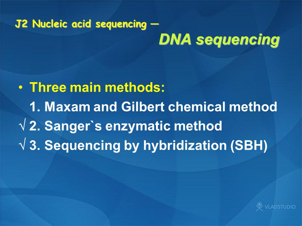 J2 Nucleic acid sequencing — DNA sequencing