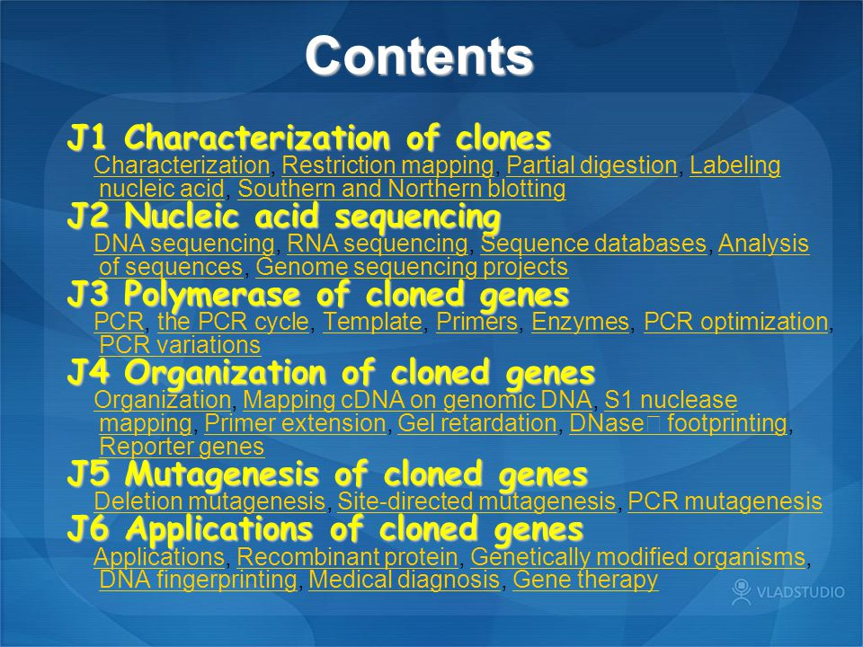Contents J1 Characterization of clones J2 Nucleic acid sequencing