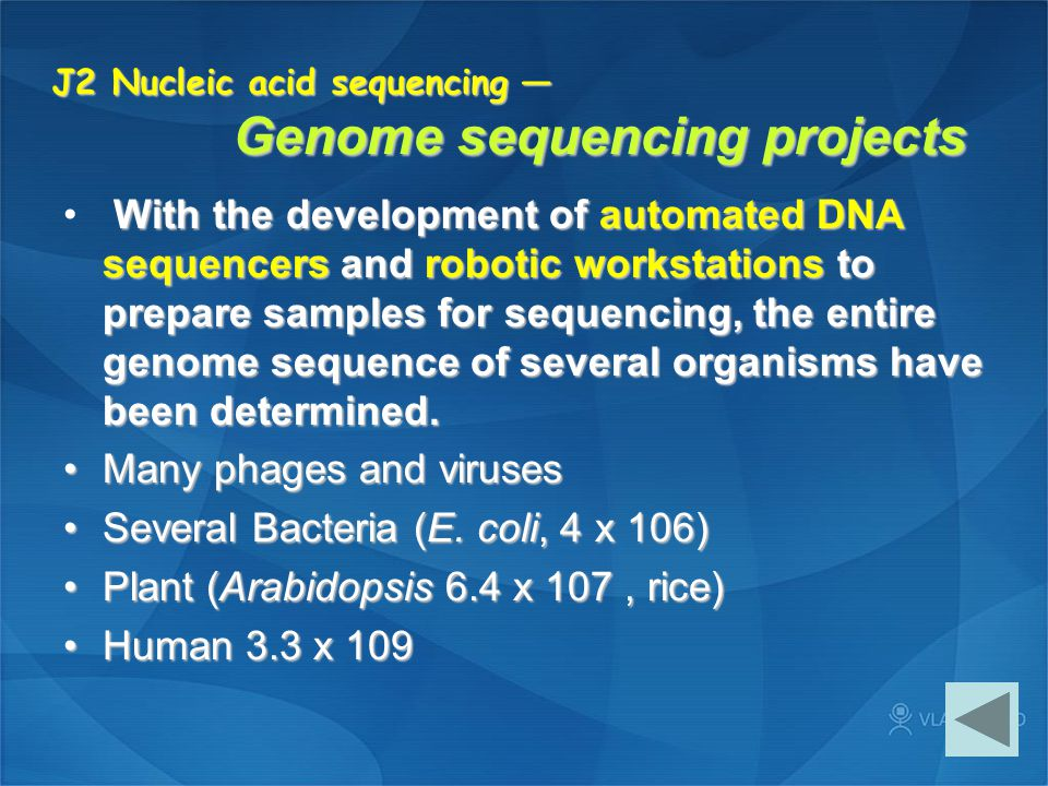 J2 Nucleic acid sequencing — Genome sequencing projects