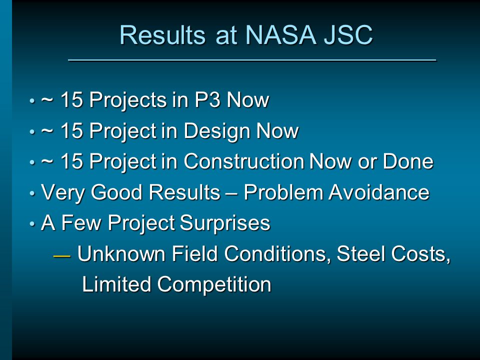 Results at NASA JSC ~ 15 Projects in P3 Now ~ 15 Project in Design Now