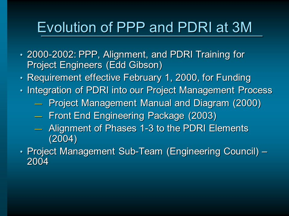 Evolution of PPP and PDRI at 3M