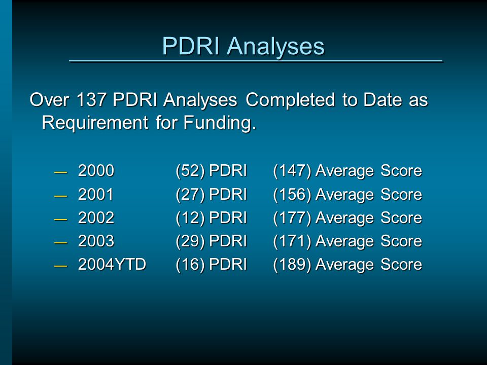PDRI Analyses Over 137 PDRI Analyses Completed to Date as Requirement for Funding. 2000 (52) PDRI (147) Average Score.