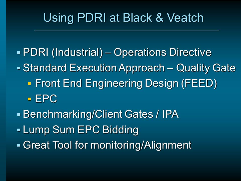 Using PDRI at Black & Veatch