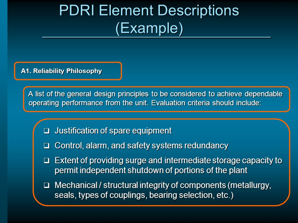 PDRI Element Descriptions (Example)