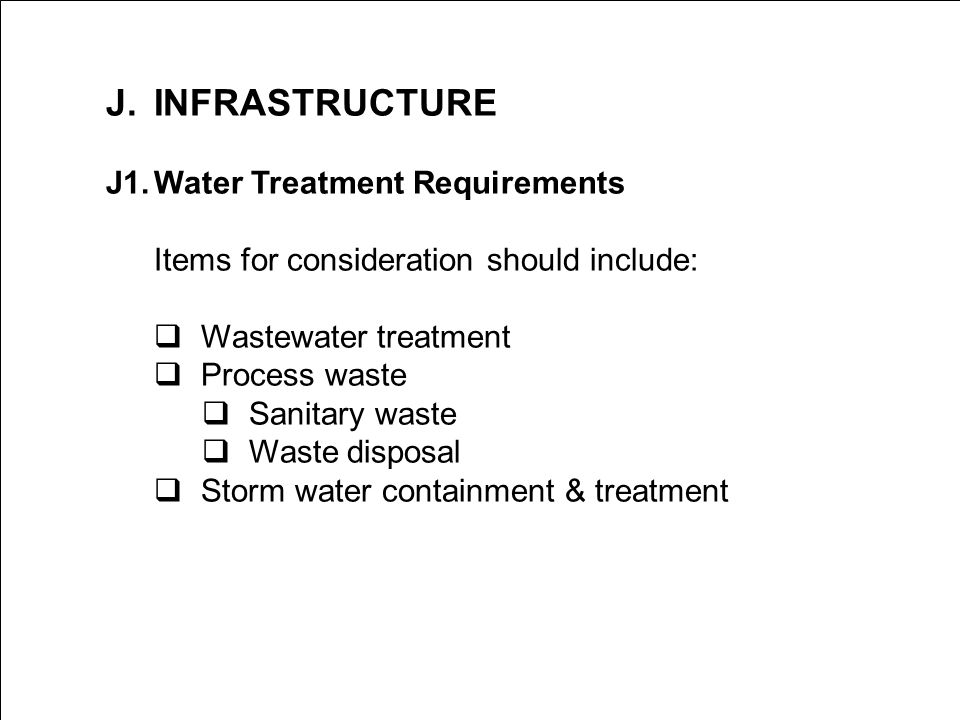 J. INFRASTRUCTURE J1. Water Treatment Requirements