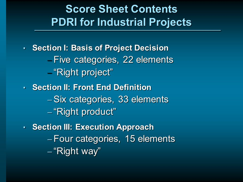 Score Sheet Contents PDRI for Industrial Projects