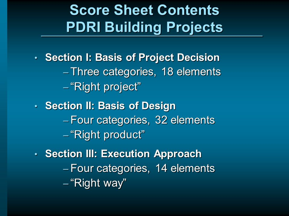 Score Sheet Contents PDRI Building Projects