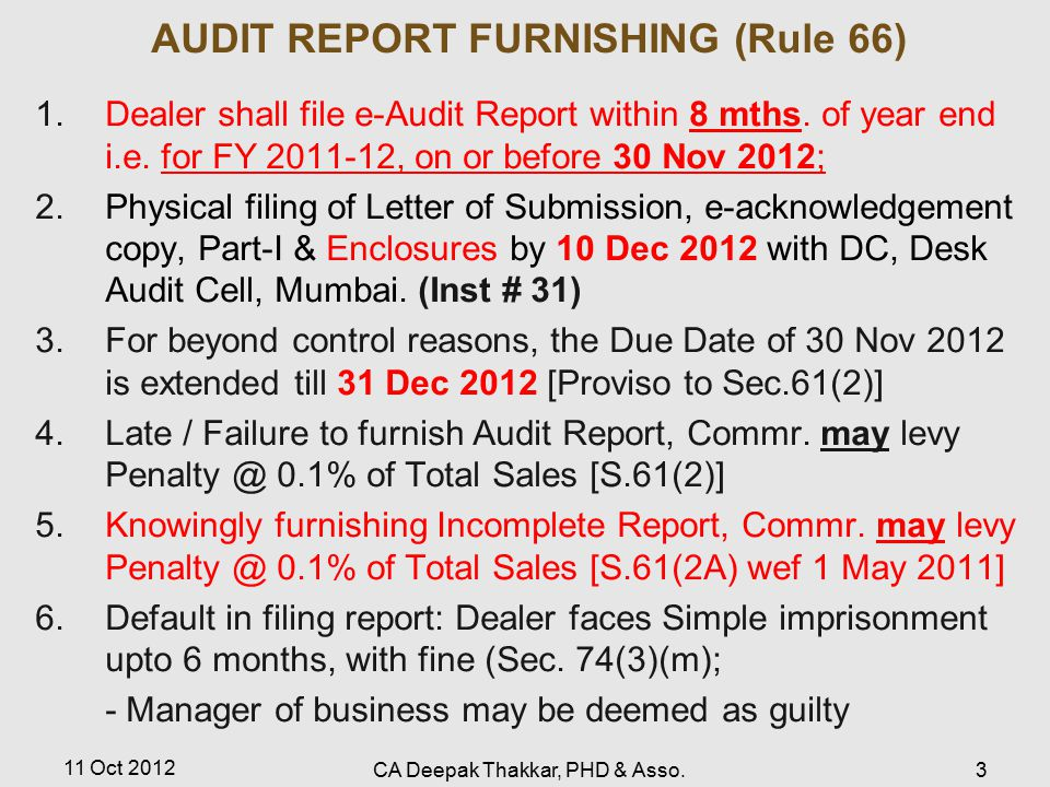AUDIT REPORT FURNISHING (Rule 66)