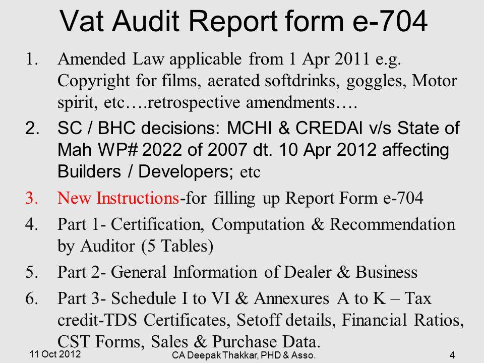 Vat Audit Report form e-704