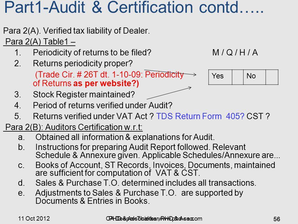 Part1-Audit & Certification contd…..