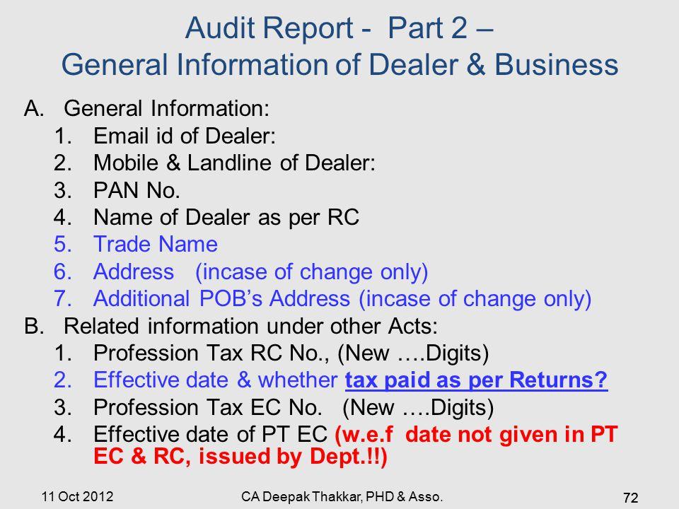 Audit Report - Part 2 – General Information of Dealer & Business