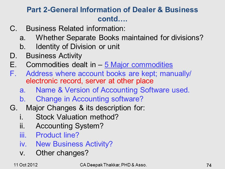 Part 2-General Information of Dealer & Business contd….
