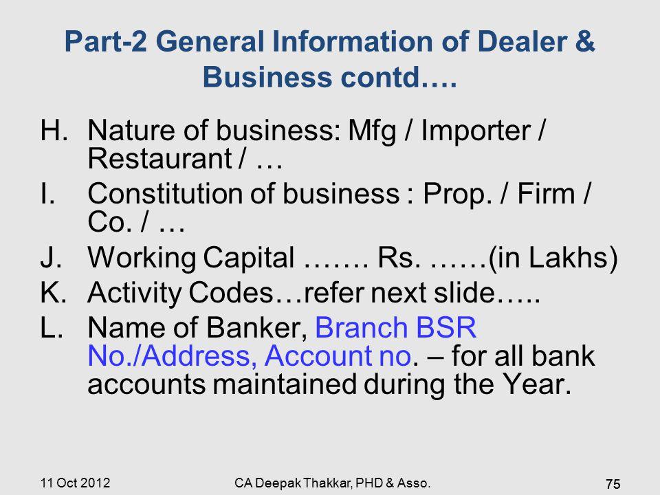 Part-2 General Information of Dealer & Business contd….