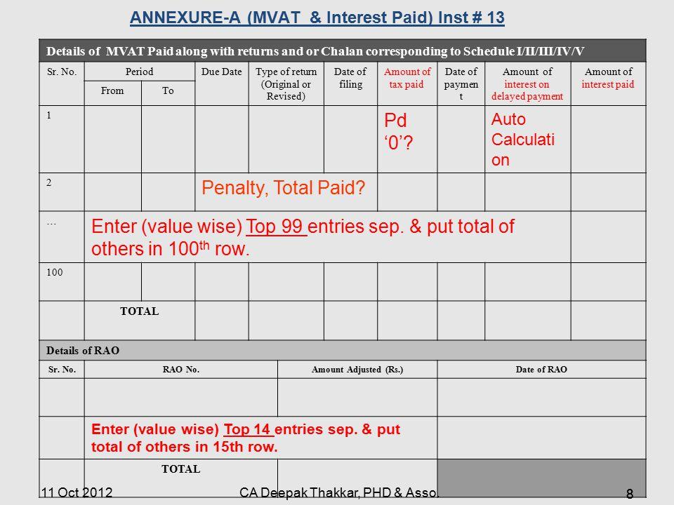 ANNEXURE-A (MVAT & Interest Paid) Inst # 13
