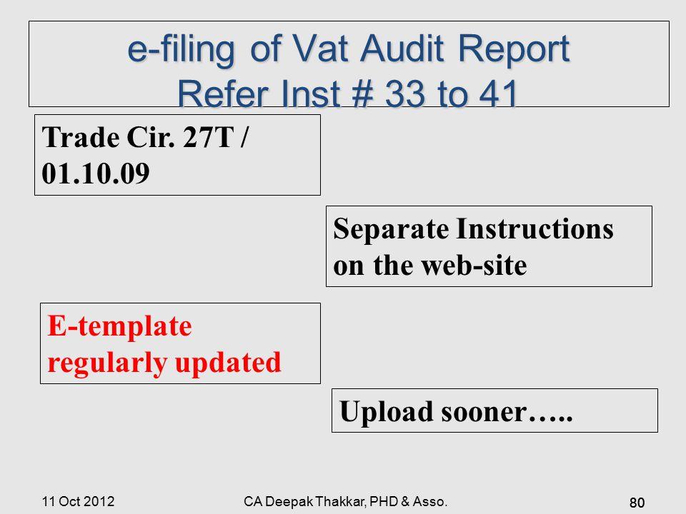 e-filing of Vat Audit Report Refer Inst # 33 to 41